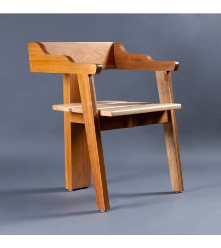 Uilli Teak Wood Chair - Rubber Wood Seat & Teak Wood Frame Legs