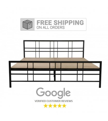 Adelle | Queen Size Metal Bed With 12mm Plywood Powder Coated - Black
