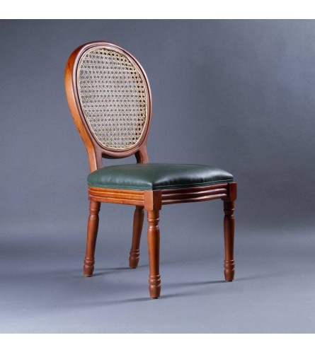 Ascot Wood Chair - Cane Backrest & Leatherette Upholstered Seat With Solid Wood Frame Legs
