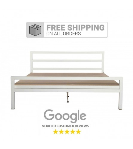 Blanche | Queen Size Metal Bed With 12mm Plywood Powder Coated - White