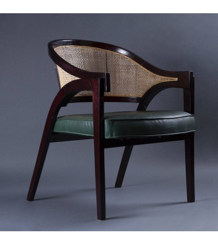 Classique Wood Chair - Leatherette Upholstered Seat, Cane Backrest With Solid Wood Frame Legs