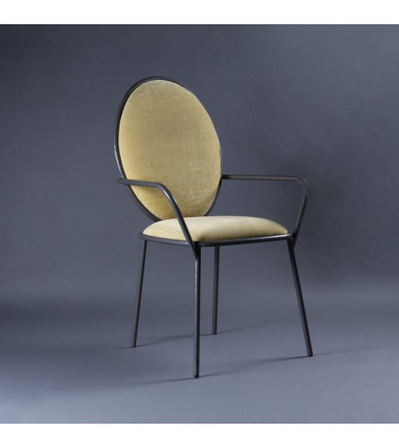 Dawn Metal Chair - Fabric Upholstered Seat & Backrest With Metal Frame Legs