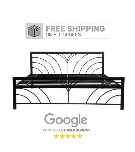 Fleur | King Size Metal Bed Powder Coated - Black