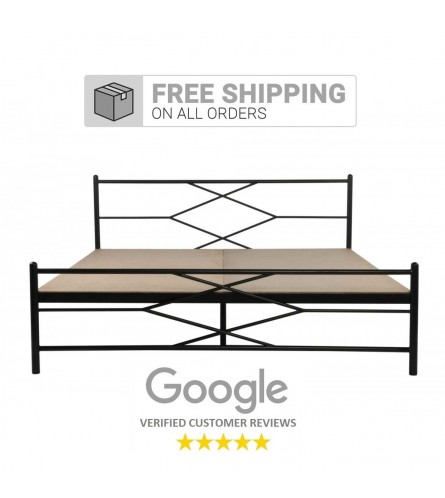 Maze | Queen Size Metal Bed With 12mm Plywood Powder Coated - Black