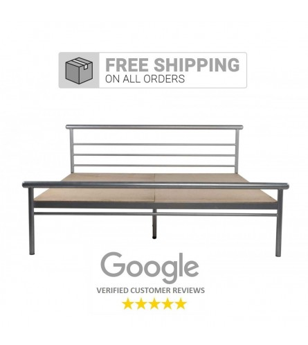 Niveh | Queen Size Metal Bed With 12mm Plywood Powder Coated - Silver Grey