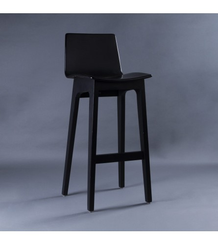 Nordic Bar Stool - Plywood Seat With Solid Wood Frame Legs (High Backrest Height)