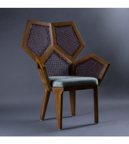 Pentagon Wood Chair - Cane Backrest / Seat With Fabric Upholstered Cushion & Solid Wood Frame Legs
