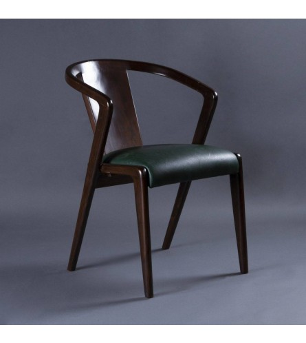 Samvit Wood Chair - Leatherette Upholstered Seat & Backrest With Solid Wood Frame Legs