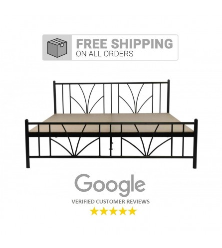 Stalk | Queen Size Metal Bed With 12mm Plywood Powder Coated - Black