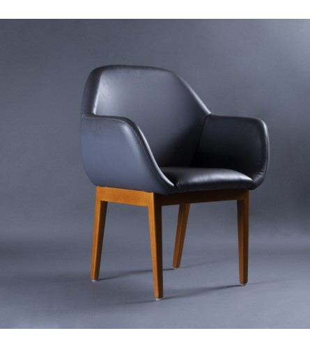 Valencia Wood Chair - Leatherette Upholstered Seat & Backrest With Solid Wood Frame Legs