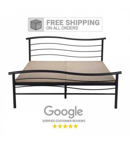 Wave | King Size Metal Bed With 12mm Plywood Powder Coated - Black