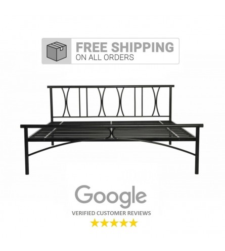 X | King Size Metal Bed Powder Coated - Black