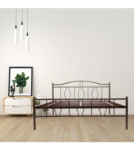 Algo | Queen Size Metal Bed Powder Coated - Brown
