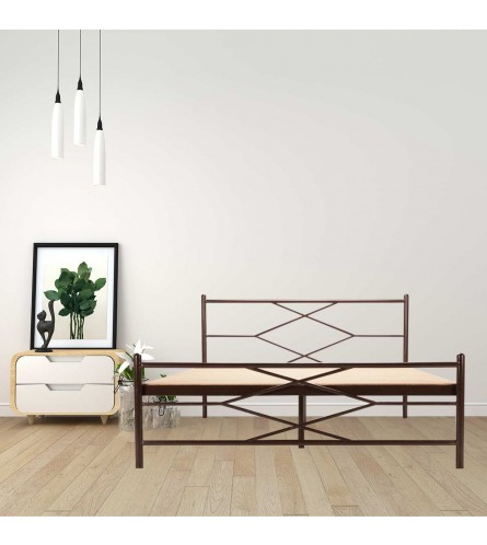 Maze | King Size Metal Bed With 12mm Plywood Powder Coated - Brown