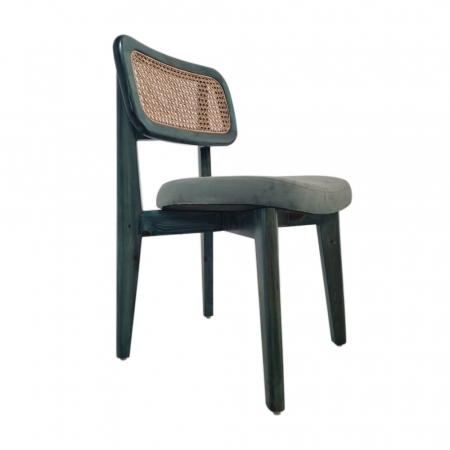 Greenwich Wood Chair - Cane Backrest & Fabric Upholstered Seat With Solid Wood Frame Legs