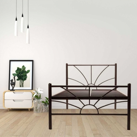 Sun | Double Size Metal Bed Without Plywood  Powder Coated - Brown