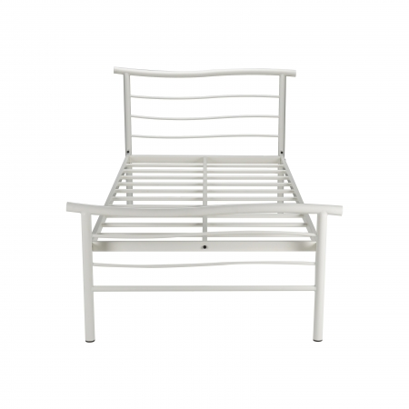 Wave | Double Size Metal Bed Without Plywood Powder Coated - White