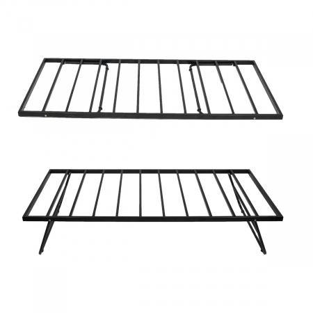 Grid | Foldable Single Size Bed Powder Coated - Black