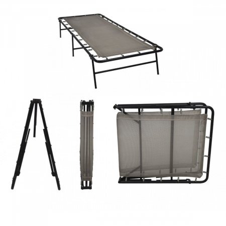 Camp Foldable Single Size Metal Bed With Heavy-Duty Fabric