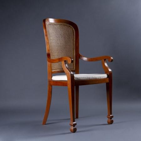 High-Back Teak Wood Chair - Cane Seat & Backrest With Teak Wood Frame Legs
