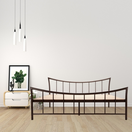 Curve | King Size Metal Bed With 12mm Plywood Powder Coated - Brown