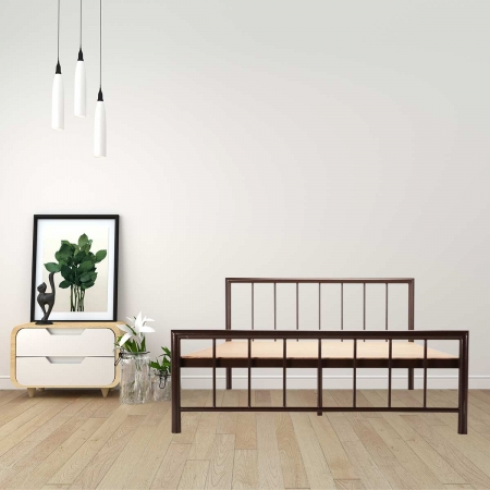 Myst | King Size Metal Bed With 12mm Plywood Powder Coated - Brown