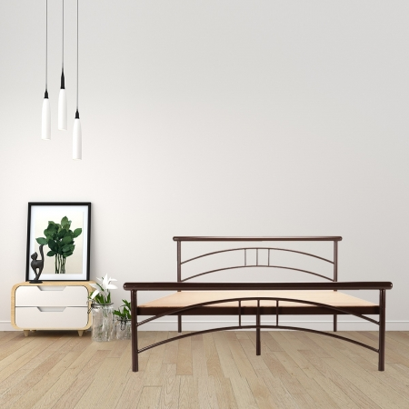Tweak | King Size Metal Bed With 12mm Plywood Powder Coated - Brown