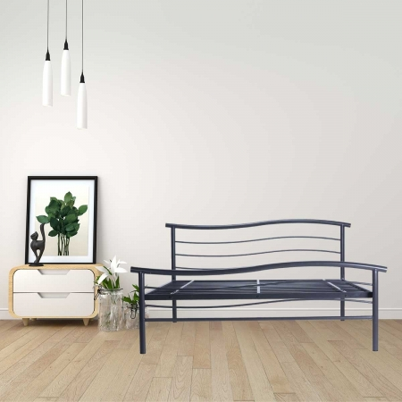 Wave | King Size Metal Bed Powder Coated - Graphite Grey - Without Plywood