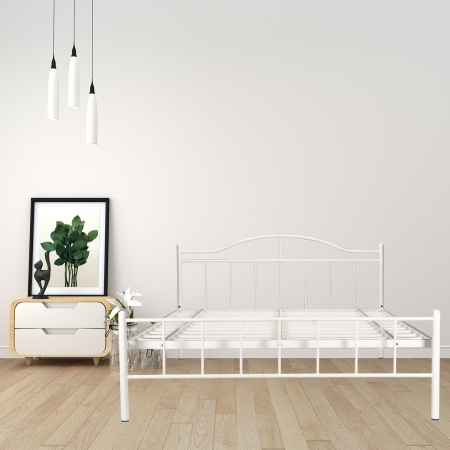 Svelte | King Size Metal Bed Powder Coated - White
