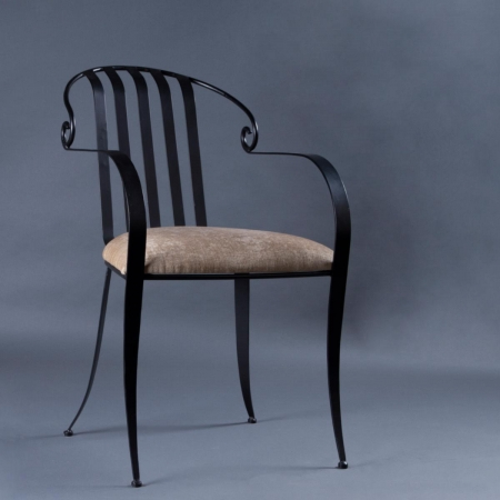 Vincent Metal Chair - Fabric Upholstered Seat & Metal Frame Legs
