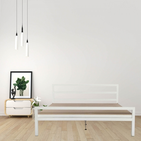 Blanche | King Size Metal Bed With 12mm Plywood Powder Coated - White