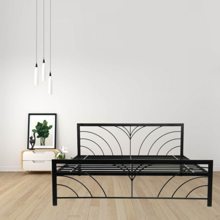 Fleur | Queen Size Metal Bed Powder-Coated Black
