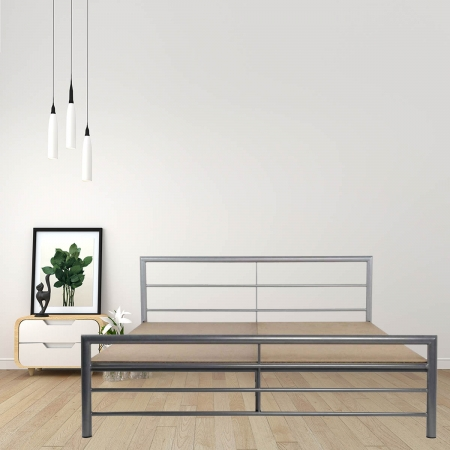 Linear | King Size Metal Bed With 12mm Plywood Powder Coated - Silver Grey