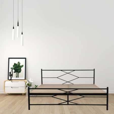 Maze | King Size Metal Bed With 12mm Plywood Powder Coated - Black