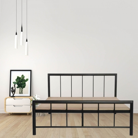 Myst | King Size Metal Bed With 12mm Plywood Powder Coated - Black