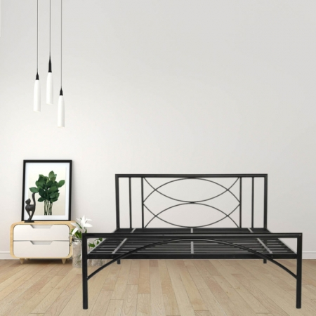 Mystic Metal Queen Size Bed Powder-Coated Black
