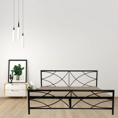 Quaker | King Size Metal Bed With 12mm Plywood Powder Coated - Black