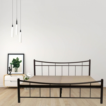 Ellipse | King Size Metal Bed With 12mm Plywood Powder Coated - Black