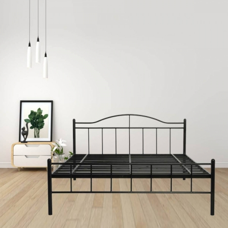 Svelte Metal Queen Size Bed Powder-Coated Black