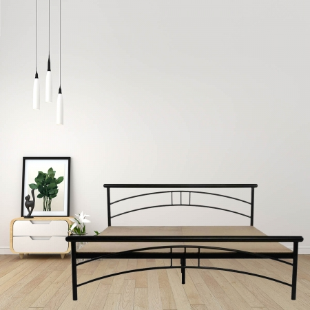 Tweak | King Size Metal Bed With 12mm Plywood Powder Coated - Black