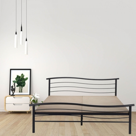 Wave | Queen Size Metal Bed With 12mm Plywood Powder Coated - Black