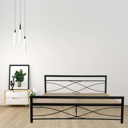 Wiry | King Size Metal Bed With 12mm Plywood Powder Coated - Black