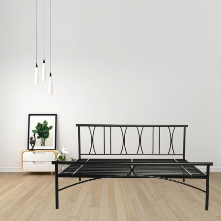 X Metal Queen Size Bed Powder-Coated Black