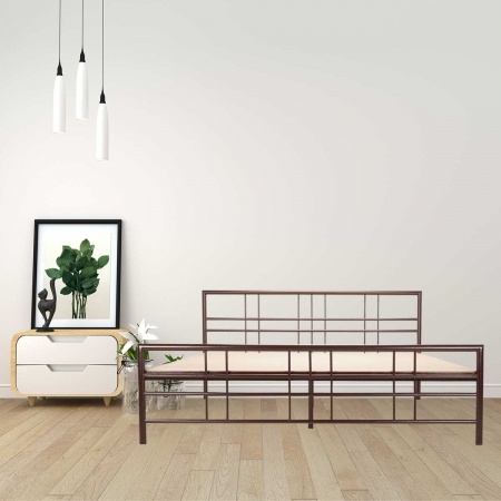 Adelle | Queen Size Metal Bed With 12mm Plywood Powder Coated - Brown