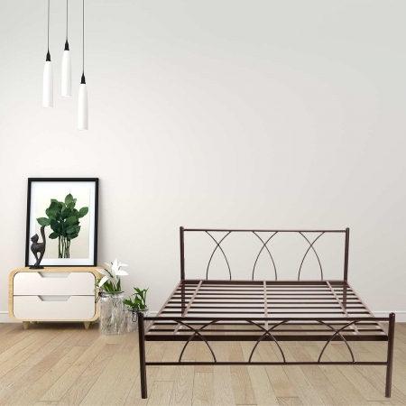 Alpha | Queen Size Metal Bed Powder-Coated Brown