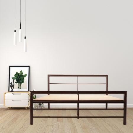 Linear | Queen Size Metal Bed With 12mm Plywood Powder Coated - Brown