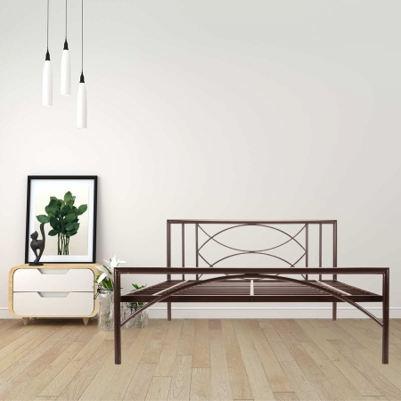 Mystic | Queen Size Metal Bed Powder-Coated Brown