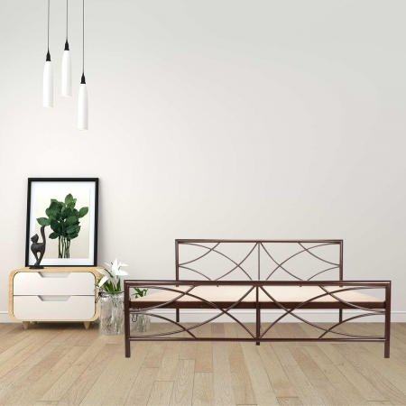 Quaker | Queen Size Metal Bed With 15mm Particle Board - Brown