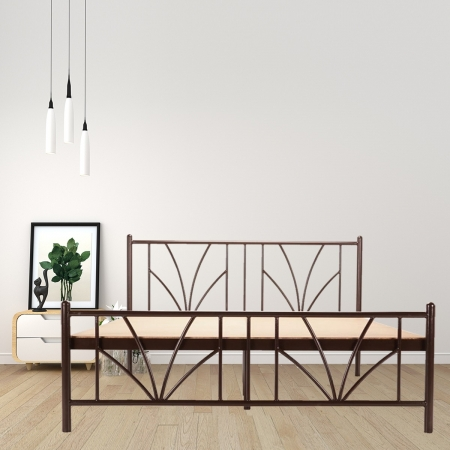 Stalk | Queen Size Metal Bed With 12mm Plywood Powder Coated - Brown