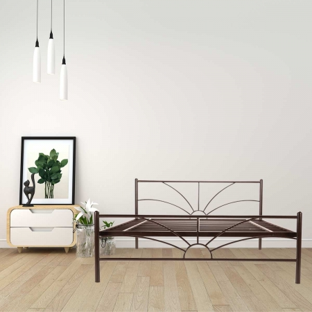 Sun | Queen Size Metal Bed Powder-Coated Brown